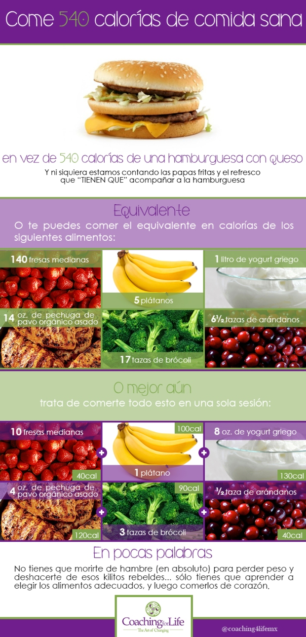 Come 540 calorías, pero de comida sana